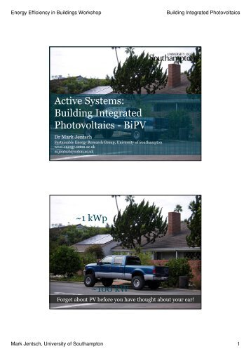 Active Systems: Building Integrated Photovoltaics - BiPV