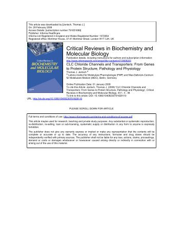 Critical Reviews in Biochemistry and Molecular Biology - FMP Berlin