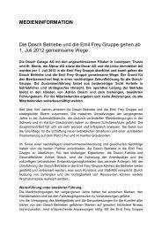MEDIENINFORMATION Die Dosch Betriebe und die ... - Emil Frey AG