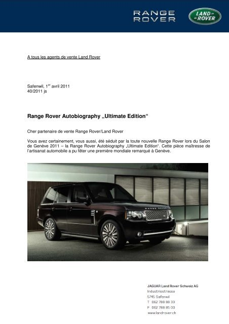range rover autobiography ultimate edition - Emil Frey AG