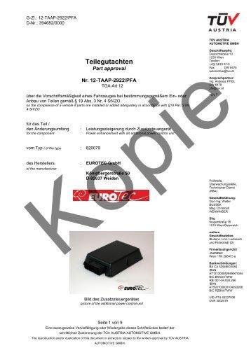 Teilegutachten - EuroTec