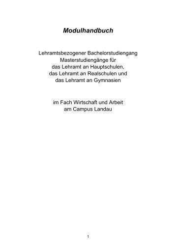 Modulhandbuch Wirtschaft und Arbeit Landau Stand 02/2009