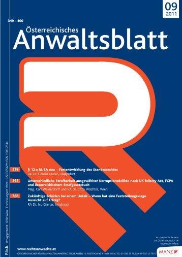 AnwBl 2011-09 347..402 - Österreichischer Rechtsanwaltskammertag