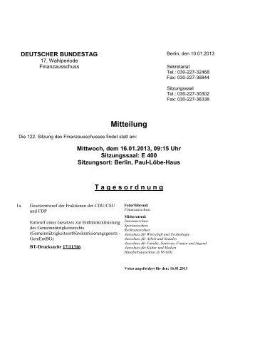 122. Sitzung am Mittwoch, 16. Januar 2013 - Deutscher Bundestag