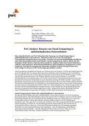 PwC Analyse: Einsatz von Cloud Computing in mittelständischen ...