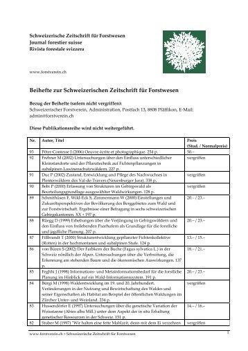 Beihefte zur Schweizerischen Zeitschrift für Forstwesen