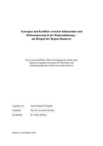 Synergien und Konflikte zwischen Klimaschutz und ... - public-gis.de