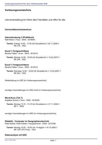 Vorlesungsverzeichnis Wintersemester 2006/2007 - Friedolin ...
