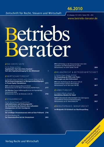 BB-Rechtsprechungsreport zu Mgm-Beteiligungen in PE ...