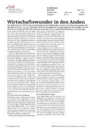 Wirtschaftswunder in den Anden - Erklärung von Bern