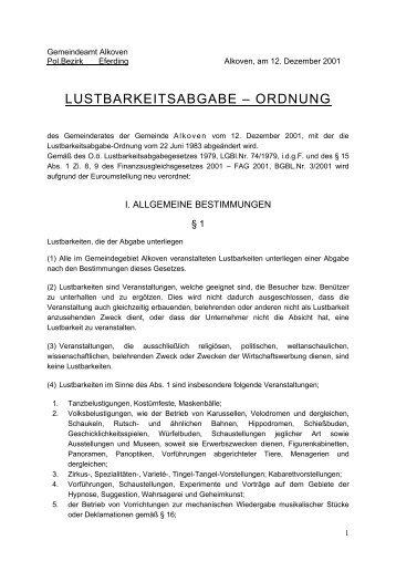 Lustbarkeitsabgabeordnung - .PDF - Gemeinde Alkoven