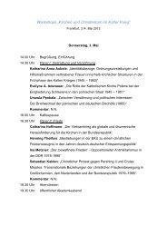 Kirchen und Christentum im Kalten Krieg - Programm Workshop 2012