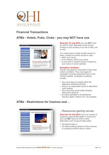 Financial Transactions - Quality Hospitality International