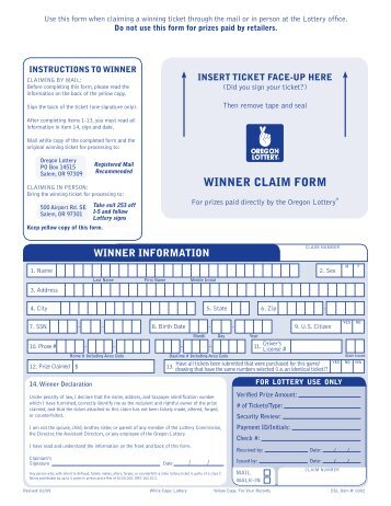 Winners Claim Form - Wisconsin Lottery