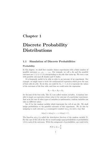 Chapter 1 Discrete Probability Distributions - Dartmouth College