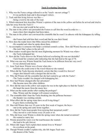 tuck everlasting club questions