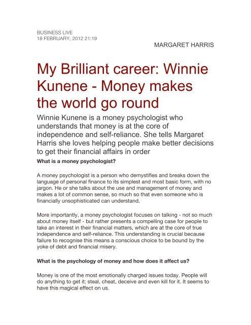 My Brilliant career: Winnie Kunene - Money makes the     - SABSA
