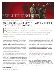 Does Your Management Team Measure Up to the Winning Formula?
