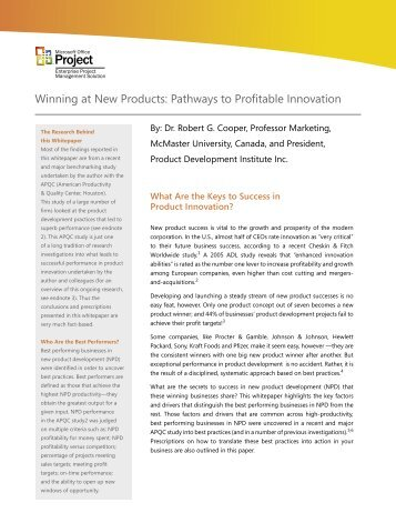Winning at New Products: Pathways to Profitable Innovation