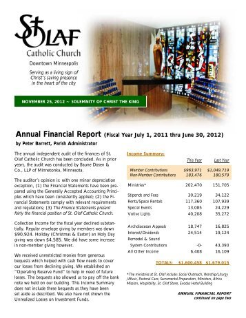 Annual Financial Report (Fiscal Year July 1, 2011 thru June 30, 2012)