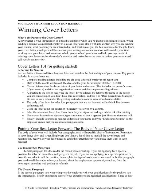 Winning Cover Letters - Michigan State 4-H - Michigan State ...