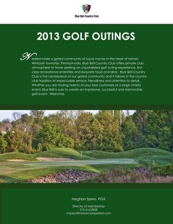 2013 GOLF OUTINGS - Blue Bell Country Club