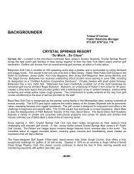 BACKGROUNDER - Crystal Springs Golf Resort