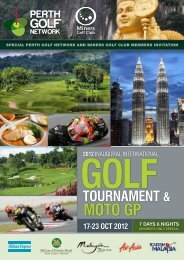 Golf TournamenT & moTo GP 17-23 ocT 2012 7 DAYS 6 NIGHTS