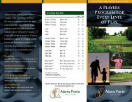 A Players Program for Every Level of Play. - Adams Pointe Golf Club