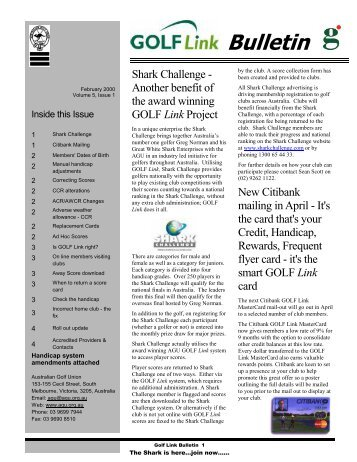 Shark Challenge - Another benefit of the award winning GOLF Link ...