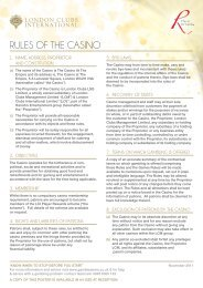 RULES OF THE CASINO - The Casino at the Empire
