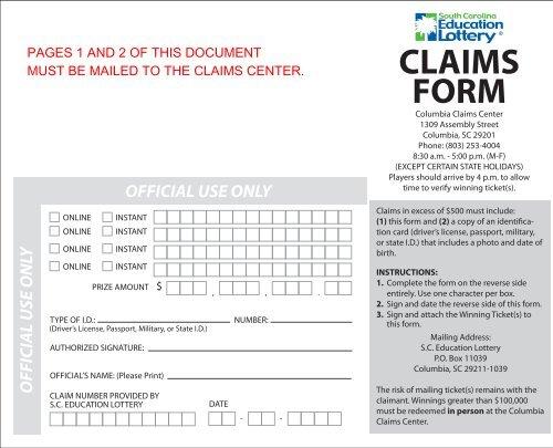 Claim Form - SC Education Lottery