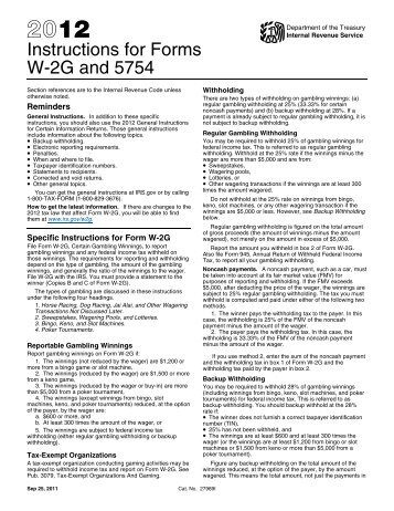 2012 Form W 2g Instructions For Recipient