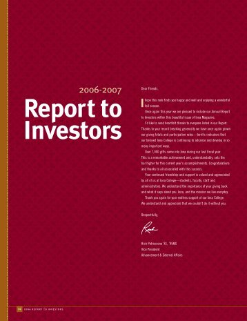 Report to Investors - Iona College