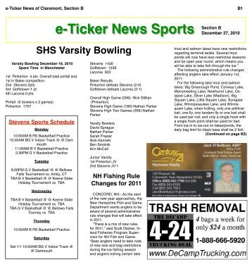 e-Ticker News Sports Section B - e-Ticker News of Claremont, NH