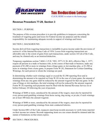 Revenue Procedure 77-29, Section 3 - to return to the home page