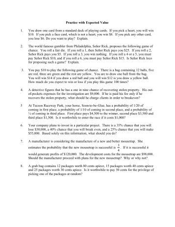 Worksheets Expected Value Worksheet worksheet on expected value practice with value