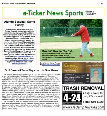 June 6, 2011, Section B - e-Ticker News of Claremont, NH