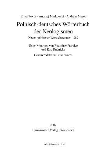 Polnisch-deutsches Wörterbuch der Neologismen - Fachbereich ...