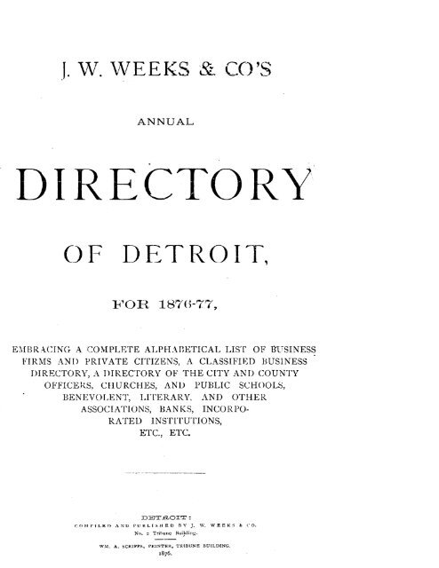 Detroit R L Polk City Directory 1876 - JewishGen KehilaLinks