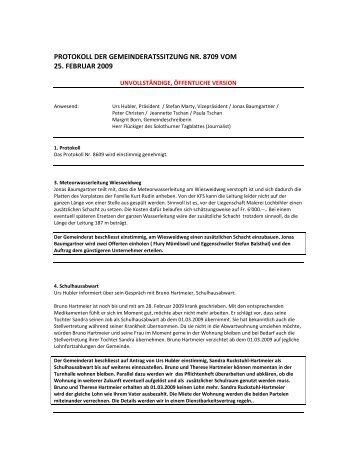 protokoll der gemeinderatssitzung nr. 8709 vom 25 ... - Holderbank SO