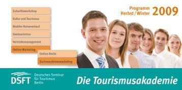 Programmheft Herbst/Winter 2009 - Deutsches Seminar für Tourismus