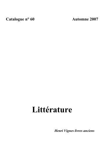 Littérature - Librairie Henri Vignes