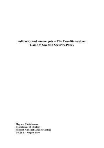 Solidarity and Sovereignty - The Two-Dimensional ... - Stockholm 2010