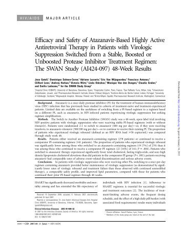 Efficacy and Safety of Atazanavir-Based Highly Active Antiretroviral ...
