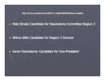 Pete Strube Candidate for Resolutions Committee Region 3 Wilma ...