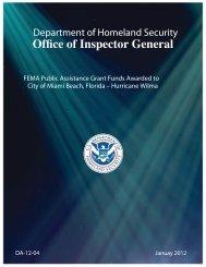 Office of Inspector General - U.S. Department of Homeland Security