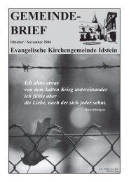 GEMEINDE- BRIEF - Evangelische Kirchengemeinde Idstein