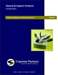 Natural & Organic Products Coverage Report - Capstone Partners