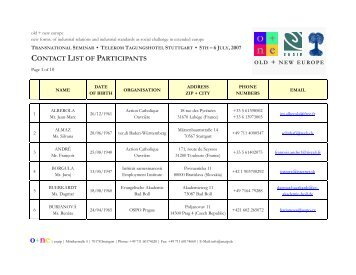 CONTACT LIST OF PARTICIPANTS - enaip